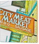 Meat On The Market Wood Print
