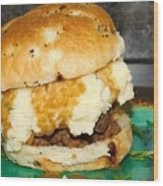 Meatloaf And Mashed Potato Sandwich Wood Print