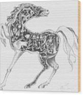 Mechanical Horse Wood Print