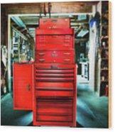 Mechanics Toolbox Cabinet Stack In Garage Shop Wood Print