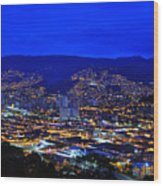 Medellin Colombia At Night Wood Print