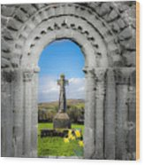 Medieval Arch And High Cross, County Clare, Ireland Wood Print