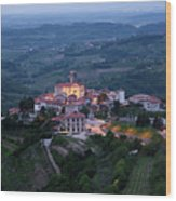 Medieval Hilltop Village Of Smartno Brda Slovenia At Dawn In The Wood Print