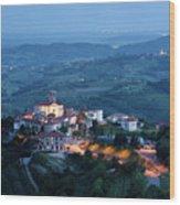 Medieval Hilltop Village Of Smartno Brda Slovenia At Dusk With S Wood Print