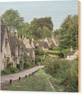 Medieval Houses In Arlington Row In Cotswolds Countryside Landsc Wood Print