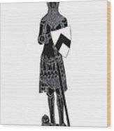 Medieval Knight Brass Rubbing Wood Print