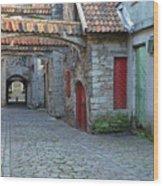 Medieval Lane In Tallinn Wood Print