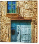 Medieval Spanish Gate And Balcony - Vintage Version Wood Print
