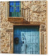 Medieval Spanish Gate And Balcony Wood Print