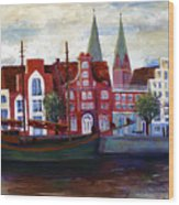 Medieval Town In Lubeck Germany Wood Print