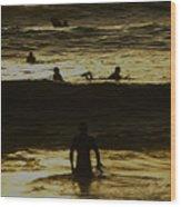 Meditari - Gold Wood Print