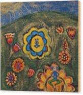 Meditating Master In Divine Garden Wood Print