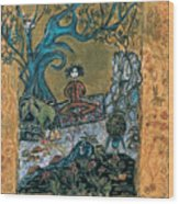 Meditating Master With Bird In Nest Wood Print