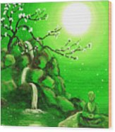 Meditating While Cherry Blossoms Fall In Green Wood Print