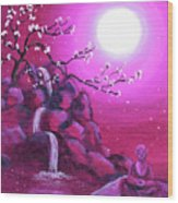 Meditating While Cherry Blossoms Fall Wood Print