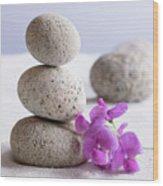 Meditation Stones Pink Flowers On White Sand Wood Print