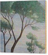 Mediterranean Pines Wood Print