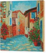 Mediterranean Street Wood Print