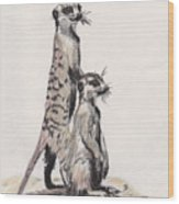 Meerkats Wood Print by Marqueta Graham