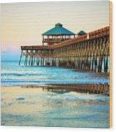 Meet You At The Pier - Folly Beach Pier Wood Print
