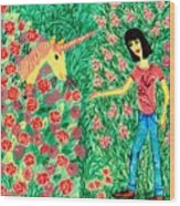 Meeting In The Rose Garden Wood Print by Sushila Burgess