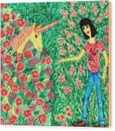 Meeting In The Rose Garden Wood Print