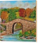 Meeting On The Old Bridge Wood Print