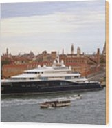 Mega Luxury Yacht The Carinthia Vll In Venice, Italy Wood Print