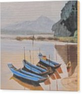 Mehkong Fishing Boats Wood Print