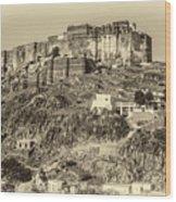 Mehrangarh Fort Sepia Wood Print