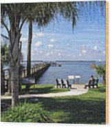 Melbourne Beach Pier In Florida Wood Print