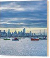 Melbourne Skyline Wood Print
