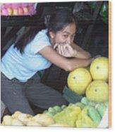Melon Girl Wood Print