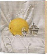 Melon On White Silk Wood Print
