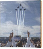 Members Of The U.s. Naval Academy Cheer Wood Print