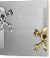 Memento Mori - Gold And Silver Human Skulls And Bones On White Canvas Wood Print