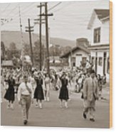 Memorial Day Parade Ashley Pa With Train Station And The Huber Colliery In Background 1955 Wood Print