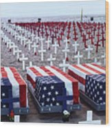 Memorial Day Remembrance At The Beach Wood Print