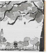 Memories Spirited Tree And Architecture Wood Print