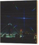 Memphis Christmas Starburst Wood Print by Jerry Taliaferro