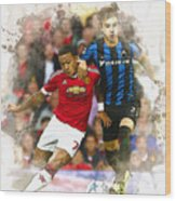 Memphis Depay Of Manchester United In Action Wood Print