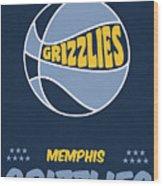 Memphis Grizzlies Vintage Basketball Art Wood Print