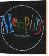 Memphis Neon Sign Wood Print