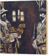 Men And Hen After A Photograph Shown On Pbs  Wood Print