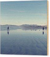 Men At Beach Wood Print