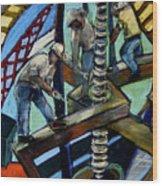 Men At Work Wood Print