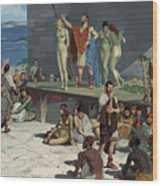 Men Bid On Women At A Slave Market Wood Print