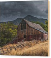 Mendon Utah Barn In Storm Wood Print by Gary Whitton