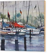 Menominee Marina Wood Print by Ryan Radke