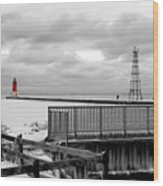 Menominee North Pier Lighthouse On Ice Wood Print